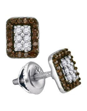 10kt White Gold Womens Round Brown Color Enhanced Diamond Rectangle Cluster Earrings 1/3 Cttw
