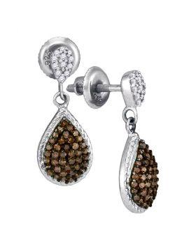10kt White Gold Womens Round Cognac-brown Color Enhanced Diamond Teardrop Dangle Earrings 1/2 Cttw