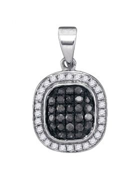 10kt White Gold Womens Round Black Color Enhanced Diamond Cluster Pendant 1/4 Cttw