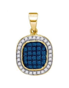 10kt Yellow Gold Womens Round Blue Color Enhanced Diamond Oval Cluster Pendant 1/4 Cttw