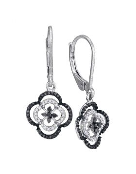 10kt White Gold Womens Round Black Color Enhanced Diamond Quatrefoil Leverback Dangle Earrings 1/3 Cttw