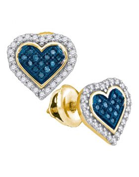 10kt Yellow Gold Womens Round Blue Color Enhanced Diamond Heart Stud Earrings 1/4 Cttw