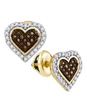 10kt Yellow Gold Womens Round Cognac-brown Color Enhanced Diamond Heart Cluster Earrings 1/4 Cttw