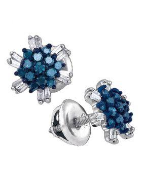 10kt White Gold Womens Round Blue Color Enhanced Diamond Cluster Screwback Earrings 1/2 Cttw