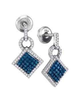 10kt White Gold Womens Round Blue Color Enhanced Diamond Square Dangle Earrings 1/2 Cttw