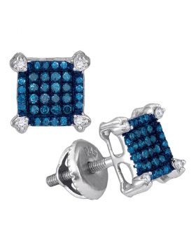 10kt White Gold Womens Round Blue Color Enhanced Diamond Square Cluster Earrings 1/4 Cttw