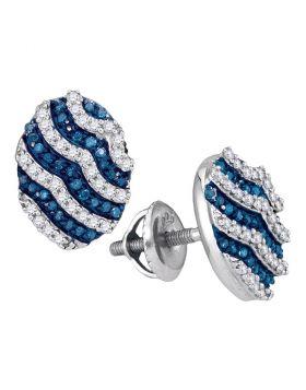 10kt White Gold Womens Round Blue Color Enhanced Diamond Oval Stripe Cluster Earrings 1/2 Cttw