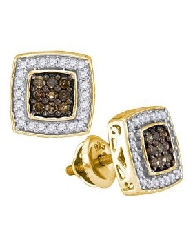 10kt Yellow Gold Womens Round Brown Color Enhanced Diamond Square Cluster Earrings 1/2 Cttw