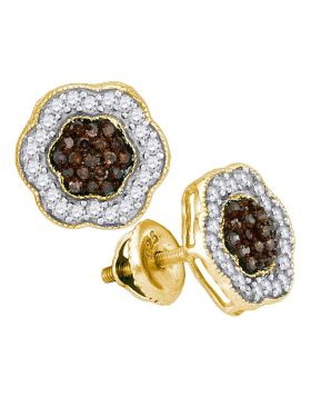 10kt Yellow Gold Womens Round Cognac-brown Color Enhanced Diamond Polygon Cluster Earrings 1/2 Cttw