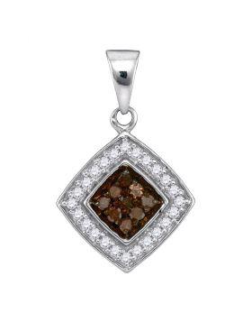 10kt White Gold Womens Round Cognac-brown Color Enhanced Diamond Square Pendant 1/4 Cttw