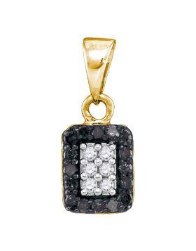 10kt Yellow Gold Womens Round Black Color Enhanced Diamond Rectangle Cluster Pendant 1/5 Cttw
