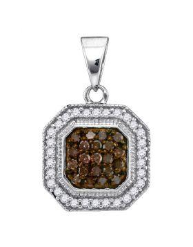 10kt White Gold Womens Round Cognac-brown Color Enhanced Diamond Octagon Cluster Pendant 1/3 Cttw