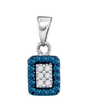 10kt White Gold Womens Round Blue Color Enhanced Diamond Rectangle Frame Cluster Pendant 1/5 Cttw