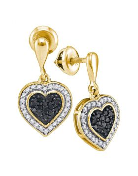 10kt Yellow Gold Womens Round Black Color Enhanced Diamond Heart Frame Dangle Earrings 1/2 Cttw