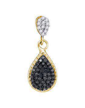 10kt Yellow Gold Womens Round Black Color Enhanced Diamond Teardrop Cluster Pendant 1/4 Cttw