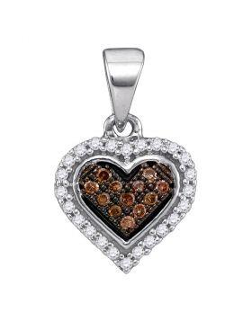 10kt White Gold Womens Round Cognac-brown Color Enhanced Diamond Heart Cluster Pendant 1/8 Cttw