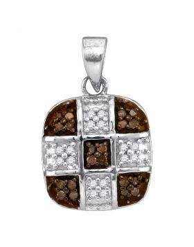 10kt White Gold Womens Round Cognac-brown Color Enhanced Diamond Square Cross Pendant 1/5 Cttw