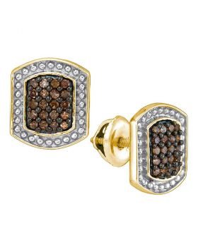 10kt Yellow Gold Womens Round Brown Color Enhanced Diamond Cluster Earrings 1/3 Cttw