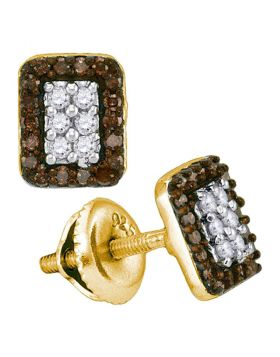 10kt Yellow Gold Womens Round Brown Color Enhanced Diamond Rectangle Cluster Earrings 1/3 Cttw