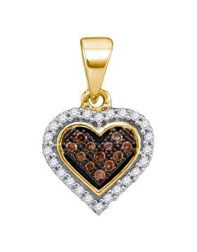10kt Yellow Gold Womens Round Cognac-brown Color Enhanced Diamond Heart Cluster Pendant 1/8 Cttw