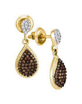 10kt Yellow Gold Womens Round Cognac-brown Color Enhanced Diamond Teardrop Dangle Earrings 1/2 Cttw