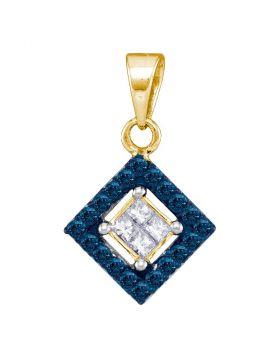 10kt Yellow Gold Womens Round Blue Color Enhanced Diamond Diagonal Square Pendant 1/3 Cttw