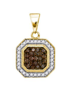 10kt Yellow Gold Womens Round Cognac-brown Color Enhanced Diamond Octagon Cluster Pendant 1/3 Cttw