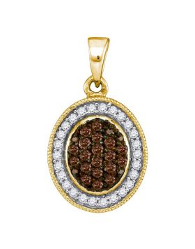 10kt Yellow Gold Womens Round Cognac-brown Color Enhanced Diamond Oval Frame Cluster Pendant 1/3 Cttw