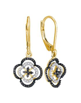 10kt Yellow Gold Womens Round Black Color Enhanced Diamond Quatrefoil Leverback Dangle Earrings 1/3 Cttw