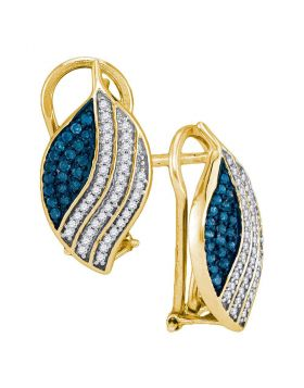 10kt Yellow Gold Womens Round Blue Color Enhanced Diamond Stripe Oval Cluster Earrings 1/2 Cttw