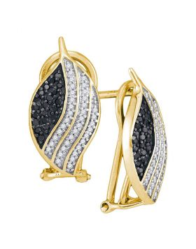 10kt Yellow Gold Womens Round Black Color Enhanced Diamond Oval Stripe Cluster Earrings 1/2 Cttw