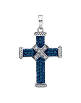 Sterling Silver Womens Round Blue Color Enhanced Diamond Bound Roman Cross Pendant 1/4 Cttw
