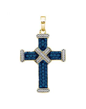 Yellow-tone Sterling Silver Womens Round Blue Color Enhanced Diamond Cross Religious Pendant 1/4 Cttw