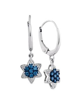 10kt White Gold Womens Round Blue Color Enhanced Diamond Star Cluster Dangle Earrings 1/4 Cttw