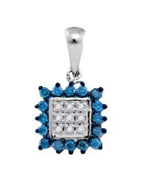 10kt White Gold Womens Round Blue Color Enhanced Diamond Square Cluster Pendant 1/3 Cttw