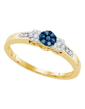 10kt Yellow Gold Womens Round Blue Color Enhanced Diamond Triple Cluster Ring 1/5 Cttw