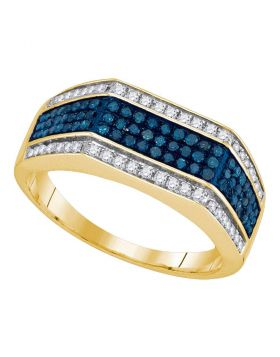 10KT YELLOW GOLD ROUND BLUE COLOR ENHANCED DIAMOND TRIPLE STRIPE FLAT SURFACE BAND 3/4 CTTW