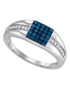 10kt White Gold Round Blue Color Enhanced Diamond Square Cluster Ring 1/2 Cttw