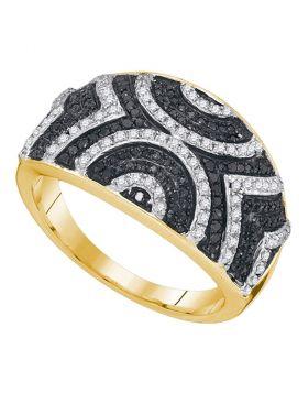 10kt Yellow Gold Womens Round Black Color Enhanced Diamond Geometric Stripe Band 1/2 Cttw