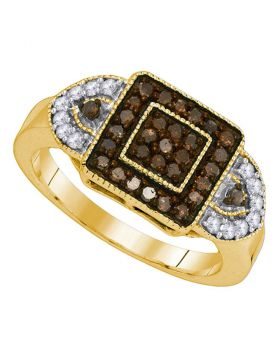 10kt Yellow Gold Womens Round Cognac-brown Color Enhanced Diamond Square Ring 1/2 Cttw