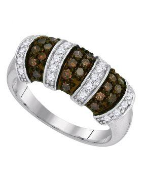 10kt White Gold Womens Round Cognac-brown Color Enhanced Diamond Alternating Stripe Band 3/4 Cttw