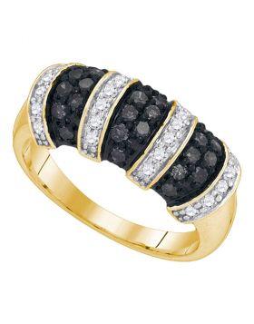 10kt Yellow Gold Womens Round Black Color Enhanced Diamond Alternating Stripe Band 3/4 Cttw