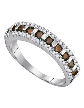 10kt White Gold Womens Round Cognac-brown Color Enhanced Diamond Triple Row Band 1/2 Cttw