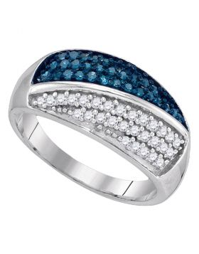 10kt White Gold Womens Round Blue Color Enhanced Diamond Double Stripe Cluster Band 1/2 Cttw