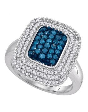 10kt White Gold Womens Round Blue Color Enhanced Diamond Rectangle Frame Cluster Ring 3/4 Cttw