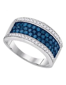 10kt White Gold Womens Round Blue Color Enhanced Diamond Triple Stripe Band 1.00 Cttw