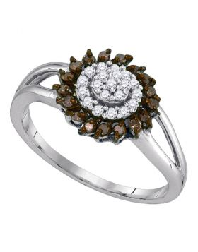 10kt White Gold Womens Round Cognac-brown Color Enhanced Diamond Flower Cluster Ring 1/4 Cttw