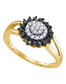 10kt Yellow Gold Womens Round Black Color Enhanced Diamond Cluster Ring 1/4 Cttw