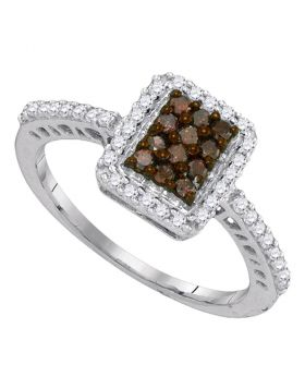 10kt White Gold Womens Round Cognac-brown Color Enhanced Diamond Rectangle Frame Cluster Ring 1/2 Cttw