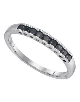 10kt White Gold Womens Princess Black Color Enhanced Diamond Band Ring 1/4 Cttw